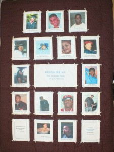 This quilt was tied by Mothers of Murdered Children, December 2013